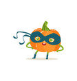cheerful cartoon character of superhero pumpkin vector image vector image