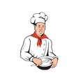 Chef Cook Baker Mixing Bowl Cartoon vector image vector image