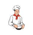 Chef Cook Baker Mixing Bowl Cartoon vector image vector image