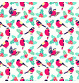christmas pattern with leaves berries holly and vector image vector image