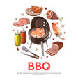 colorful barbecue party round concept vector image