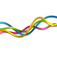 colorful glossy waves on white background vector image vector image