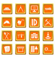 construction icons set orange vector image vector image
