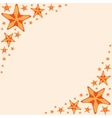 Decorative frame with orange cartoon starfishes vector image