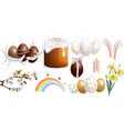easter traditional sweet bread and colorful eggs vector image vector image