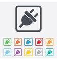 Electric plug sign icon Power energy symbol vector image