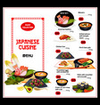 exotic japan dishes cuisine menu vector image vector image