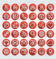 Flat Icons Social Media Round Red Set vector image vector image
