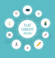 flat icons writing eye compass and other vector image vector image