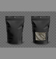 foil pouch with zipper and plastic window for tea vector image
