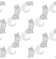 fox seamless pattern in entangle style freehand vector image