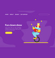 fun clown show landing page template circus vector image vector image