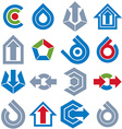 Geometric abstract blue and gray shapes Collection vector image vector image