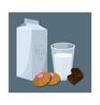 glass of milk with biscuits blue vector image vector image