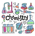 hand drawn color chemistry and science icons set vector image vector image