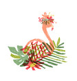 hand drawn flamingo tropical flower composition vector image