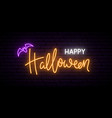 happy halloween neon sign board bright light vector image vector image