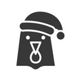 hen wearing santa hat silhouette icon design vector image vector image