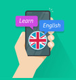 learn english via mobile phone app or study vector image vector image
