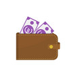 leather wallet with dollar banknotes vector image vector image