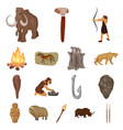 life in the stone age cartoon icons in set vector image vector image