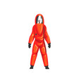 man in red protective suit helmet and mask vector image vector image