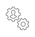 man inside gear outline icon management vector image vector image