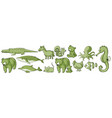 many wild animals in set green vector image vector image