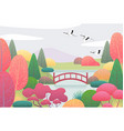nature scene with flying cranes and japanese vector image