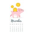 november 2019 year calendar page vector image vector image