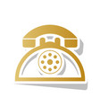 retro telephone sign golden gradient icon vector image vector image