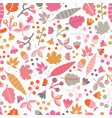 seamless pattern fall doodle leaves vector image vector image