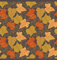 seamless pattern with autumn leaves with line vector image vector image