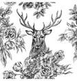 seamless pattern with deer and flowers vector image