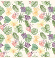 seamless tropical palm leaves and flowers pattern vector image vector image