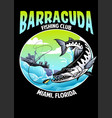 shirt design barracuda fishing vector image