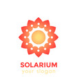 solarium logo with sun and flower vector image vector image