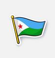 sticker flag djibouti vector image