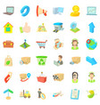 transfer package icons set cartoon style vector image vector image