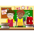 Two boys in the classroom vector image vector image