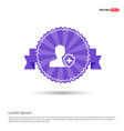 user insurance icon - purple ribbon banner vector image vector image
