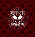 wine collection logo on seamless pattern vector image