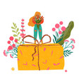woman with gift and flowers thank you for vector image