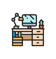 workplace desk with computer and lamp flat color vector image