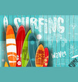surfing retro poster on blue wooden background vector image