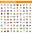 100 urban icons set cartoon style vector image vector image