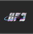 abbreviation ufo logo silver metal lettering vector image vector image