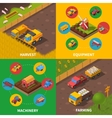 Agricultural Machinery 4 Isometric Icons Square vector image vector image