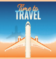 airplane over the sea vacation retro background vector image