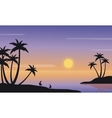 At sunrise seaside landscape of silhouette vector image vector image